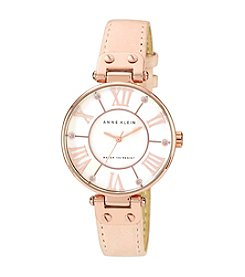 Anne Klein® Women's Rose Goldtone Oversized Dial Strap Watch