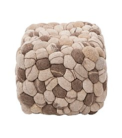 Chic Designs Rectangular Shag Multicolor Pouf