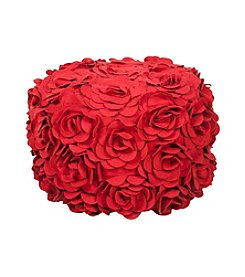 Chic Designs Round Venetian Red Floral Pouf