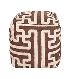 Chic Designs Square Dark Chocolate & Parchment Pouf
