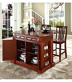 Crosley Furniture Drop-Leaf Kitchen Island with Schoolhouse Stools