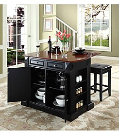 Crosley Furniture Drop-Leaf Kitchen Island with Square Seat Stools