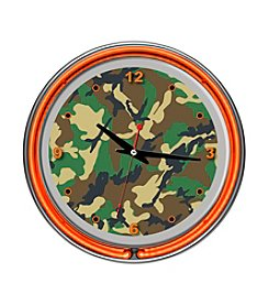 Trademark Global Hunting Camo Chrome Double-Ring Neon Clock