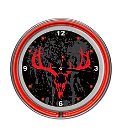 Trademark Global Hunting Skull Chrome Double-Ring Neon Clock