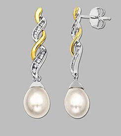 14K Yellow Gold and Sterling Silver Diamond Accented Freshwater Pearl Earrings, .064 ct. t.w.