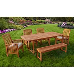 W. Designs Six Piece Acacia Wood Patio Dining Set