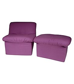 Fun Furnishings Purple Canvas Cloud Chair & Ottoman