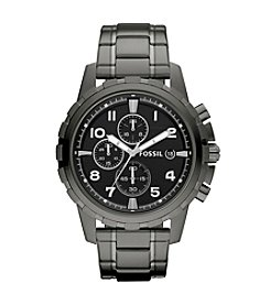 Fossil® Men's 45mm Dean Stainless Steel Smoke Chronograph Watch