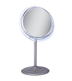 Zadro Single Sided Surround Light Pedestal Vanity Mirror with 5x Magnification