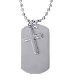 Stainless Steel Two Piece Dog Tag Pendant with Cross on Bead Chain