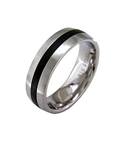 Stainless Steel Band Ring with Black Ion Plating