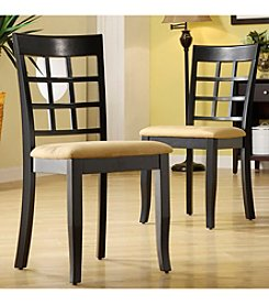 Home Interior Set of 2 Black Lattice Back Dining Chairs