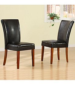 Home Interior Set of 2 Faux Leather Side Chairs