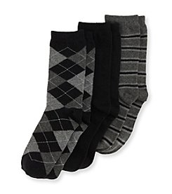 Statements Boys' 3-Pack Striped Argyle Dress Socks