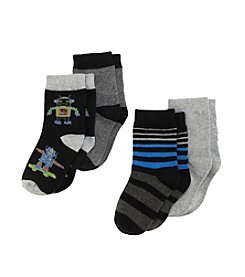Statements Boys' 4-pack Robot/Stripe Basic Socks