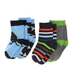 Statements Boys' 4-pack Dino Argyle Dress Socks