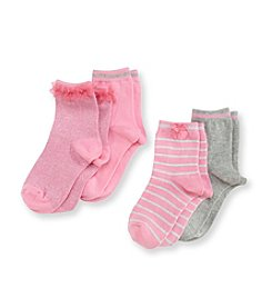 Little Miss Attitude Girls' 4-pack Pink/Gray Crew Socks