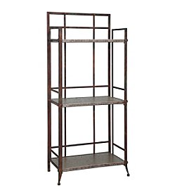 Powell® Foundry Antique Pewter Tall 3-Shelf Bookcase with Gallery Crown