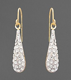 14K Yellow Gold Crystal Teardrop Earrings