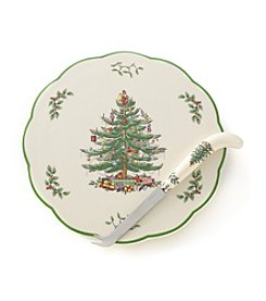 Spode® Christmas Tree Cheese Plate with Knife