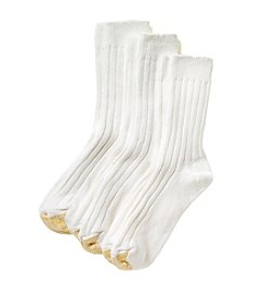 GOLD TOE® Women's 3-Pack White AquaFX® Weekend Crew Socks