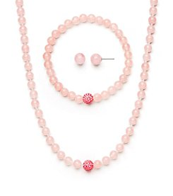 .925 Sterling Silver & Rose Quartz Necklace, Earring & Bracelet Set