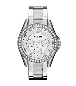 Fossil® Women's 40mm Silvertone Riley Stainless Steel Watch