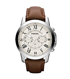 Fossil® Men's 44mm Grant Roman Watch With Leather Strap