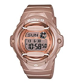 Baby-G Women's Pink Champagne Digital Watch with Translucent Resin Band