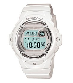 Baby-G Women's White Digital Watch with Translucent Resin Band
