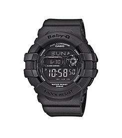 Baby-G Women's Analog-Digital Matte Black Resin Watch with 3D Protection Case