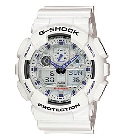 G-Shock Men's XL White Analog-Digital Watch With Glossy Resin Band