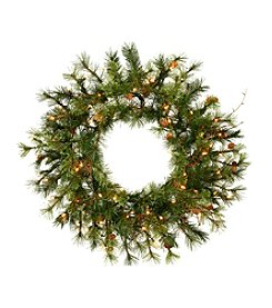 Vickerman Artifical Country Pine Wreath with Clear Lights, Pine Cones and Grapevines