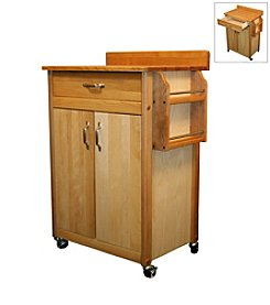 Catskill Craftsmen Butcher Block Cart with Flat Doors and Backsplash