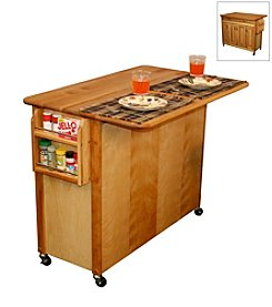 Catskill Craftsmen Butcher Block Island with Raised Panel Doors and Drop Leaf