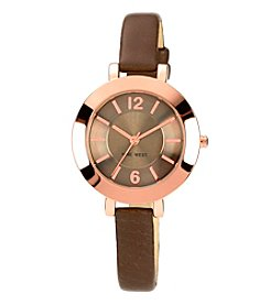 Nine West® Women's Rose Goldtone Case With Brown Strap Watch
