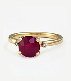 Effy® Lead Glass Filled Ruby And .05 Ct. T.W. Diamond Ring