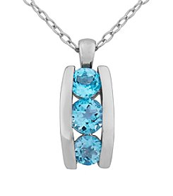 Designs by FMC Rhodium Plated Sky Blue Topaz Pendant