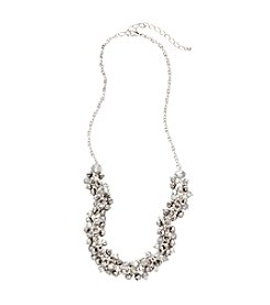 BT-Jeweled Silvertone Cluster Necklace