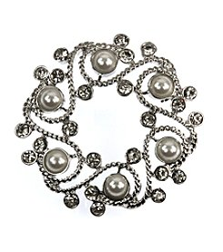 Napier® Silvertone Pearl Wreath Pin in a Gift Box