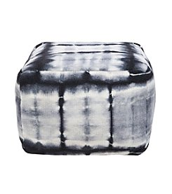 Chic Designs Square Tie Dye Black Pouf