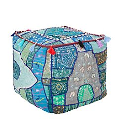 Chic Designs Square Sari Blue Pouf