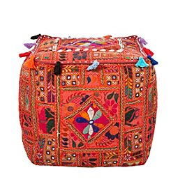 Chic Designs Square Sari Orange Pouf