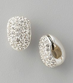 Anne Klein® Silvertone Crystal Clip Earrings