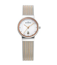 Skagen Women's Silver and Rose Striped Mesh Watch