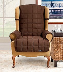 Sure Fit® Soft Suede Waterproof Wing Chair Cover