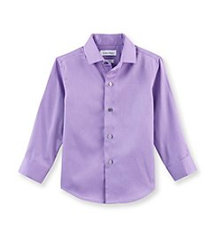 Calvin Klein Boys' 8-20 Purple Long Sleeve Sateen Woven