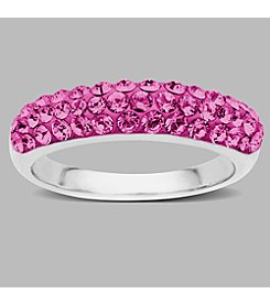Impressions® Sterling Silver and Rose Crystal Ring