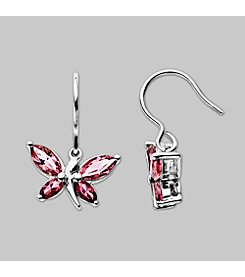 Impressions® Sterling Silver and Rose Crystal Earrings