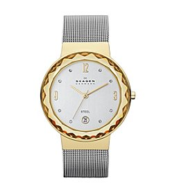 Skagen Women's Steel Mesh Silvertone and Goldtone Watch